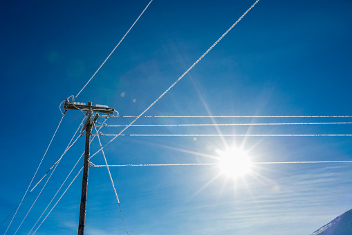 The Nature Conservancy「Sun in blue sky and frosty power lines」:スマホ壁紙(14)