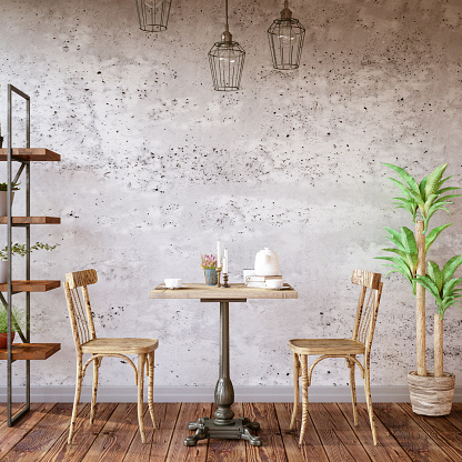 Template「Cafe Interior with Concrete Wall」:スマホ壁紙(1)