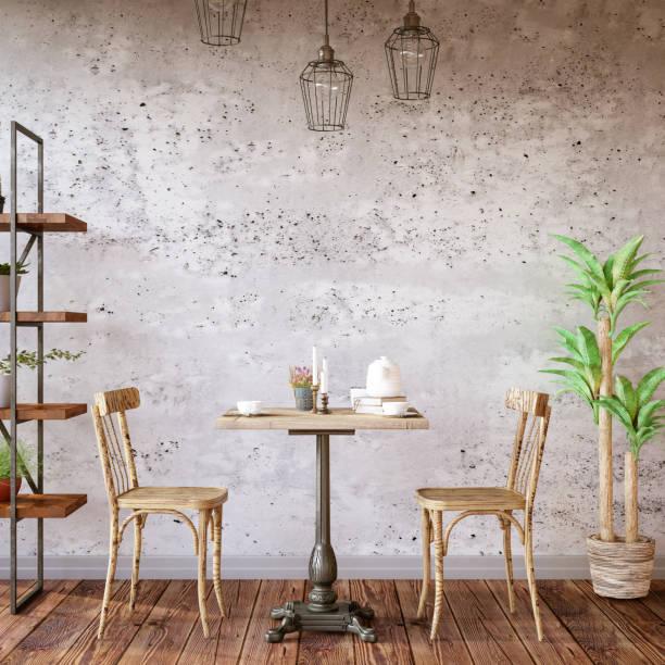 Cafe Interior with Concrete Wall:スマホ壁紙(壁紙.com)