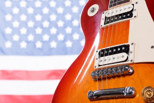 Rock Music「Classic American guitar against US flag」:スマホ壁紙(4)