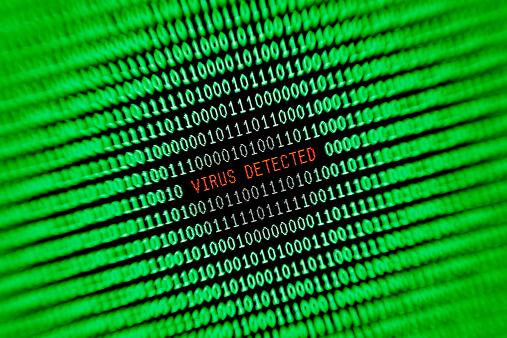 Threats「Computer Virus Alert Warning On Monitor Screen Green And Red」:スマホ壁紙(4)