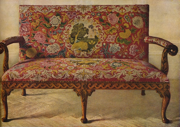 Upholstered Furniture「'A Queen Anne Settee Upholstered in Petit Point', c1900, (1936)」:写真・画像(4)[壁紙.com]