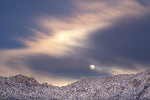 Sandia Mountains「moonrise at night over winter mountains」:スマホ壁紙(3)