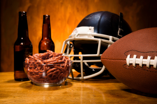 Snack「Sports:  Football helmet, ball on table.  Pretzels and beer. championship game.」:スマホ壁紙(7)