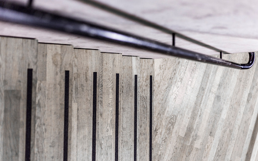 セレクティブフォーカス「- graphic wooden steps, stripes, iron steel pipe railing and concrete background -」:スマホ壁紙(9)