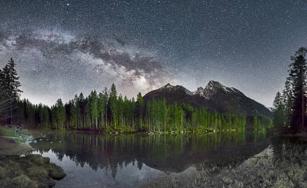 Lonely park bench at the Lake Hintersee under Milky Way:スマホ壁紙(壁紙.com)
