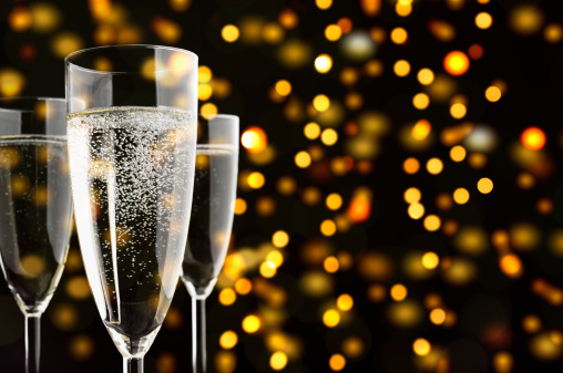 Holiday - Event「Three Champagne glasses with sparklings, yellow lights in the background」:スマホ壁紙(18)