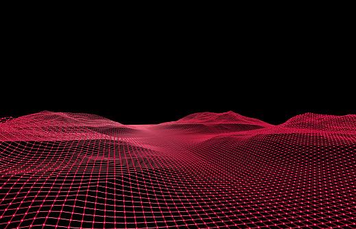 Template「3D-grid formed like a landscape」:スマホ壁紙(9)