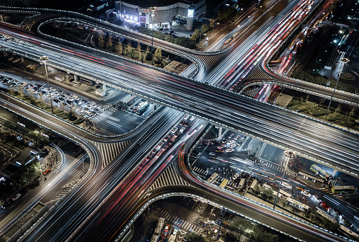 Elevated Road「Beijing,aerial view of busy road intersection」:スマホ壁紙(7)