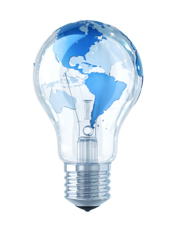 Light Bulb「Global Idea! Light Bulb with World Map」:スマホ壁紙(1)