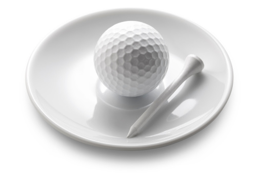 Taking a Shot - Sport「Service. Golf ball and tee on a saucer coffee.」:スマホ壁紙(4)