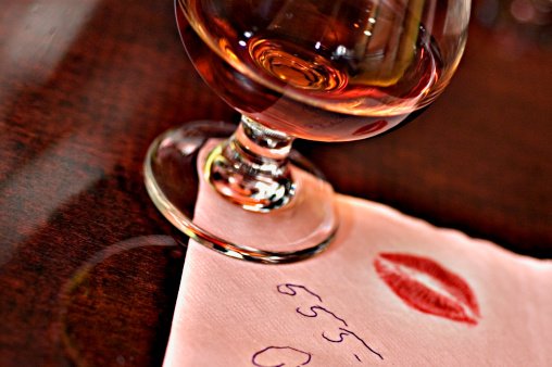 Telephone Number「Cognac glass on napkin with telephone number and kiss imprint」:スマホ壁紙(19)