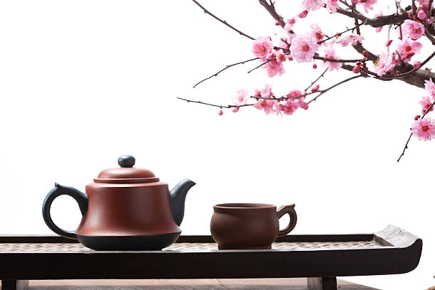 The teapot and plum blossom:スマホ壁紙(壁紙.com)