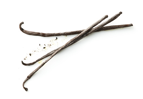 Dried Food「Three dried vanilla beans on white」:スマホ壁紙(8)