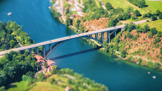 Ain - France「Small concrete bridge aerial view road in countryside in summer season crossing Ain river in France」:スマホ壁紙(18)