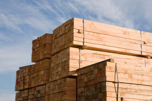 Lumber Industry「Stack of lumber in lumberyard or construction site」:スマホ壁紙(4)