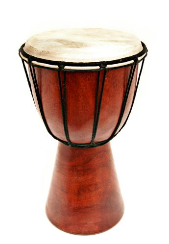 Drum - Percussion Instrument「Djembe Wooden Hand Drum Isolated on White」:スマホ壁紙(4)