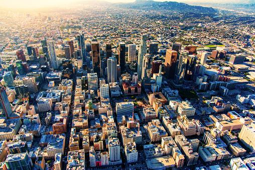 City Of Los Angeles「Downtown Los Angeles Skyline Aerial」:スマホ壁紙(1)