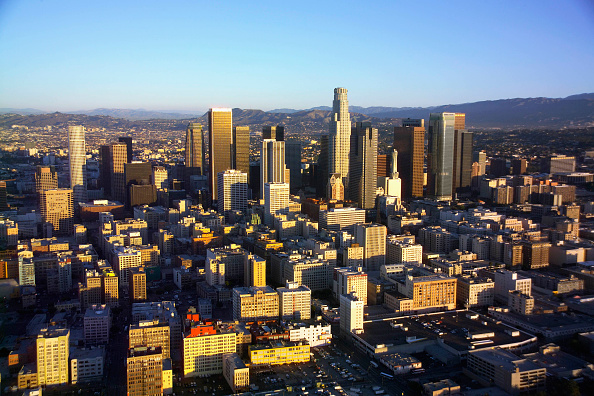 High Angle View「Downtown Los Angeles, California, USA, aerial view」:写真・画像(12)[壁紙.com]