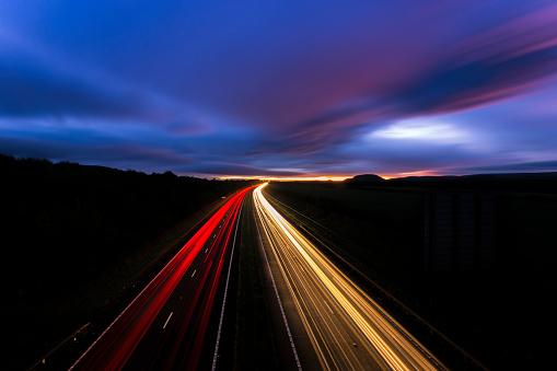 East Lothian「UK, Scotland, Light trails on highway in East Lothian」:スマホ壁紙(13)