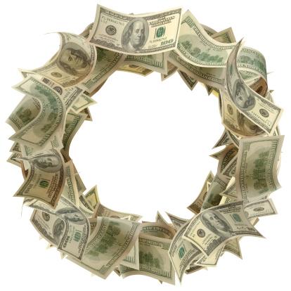 American One Hundred Dollar Bill「Money Wreath」:スマホ壁紙(12)