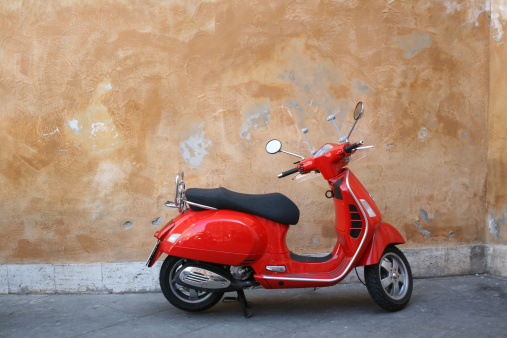 Motorcycle「Red scooter and Roman wall, Rome Italy」:スマホ壁紙(2)