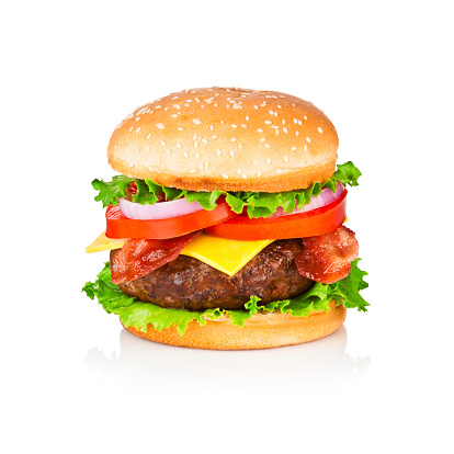 Hamburger「Huge and tasty cheeseburger shoot on white backdrop」:スマホ壁紙(7)