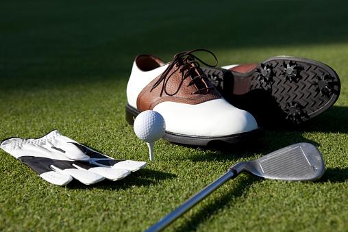 Green - Golf Course「Golf Shoes, Gloves,Ball,Club On Green Grass」:スマホ壁紙(1)