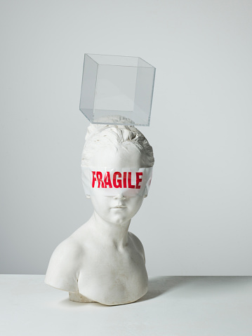 Bust - Sculpture「Fragile tape wrapped around the eyes of a plaster bust with object on her head」:スマホ壁紙(17)