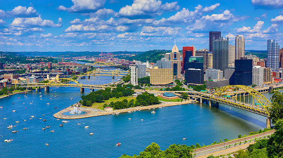 Pennsylvania「Aerial Pittsburgh Skyline」:スマホ壁紙(13)
