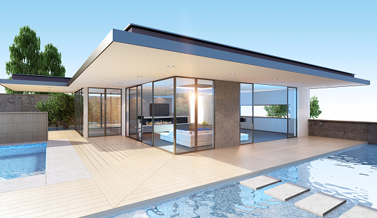 Resort「View of glass-walled villa exterior with pool」:スマホ壁紙(18)