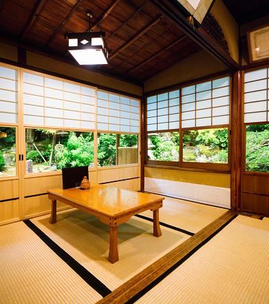 Shoji「Japanese restaurant dining room with sliding doors and garden」:スマホ壁紙(12)
