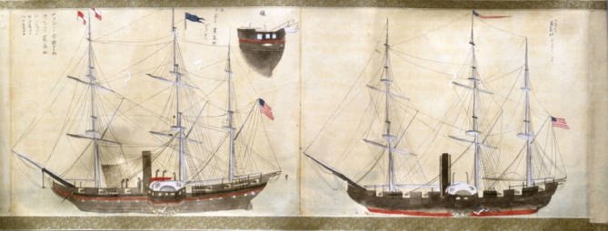 1990-1999「Japanese rendering of two American ships from expedition of Matthew Perry」:スマホ壁紙(2)
