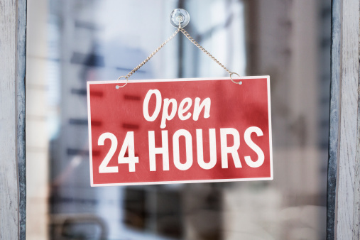 Accessibility「Open 24 hours sign on glass of shop door」:スマホ壁紙(16)