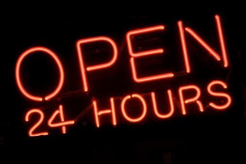 Neon「24 時間オープンの赤のネオン看板」:スマホ壁紙(8)