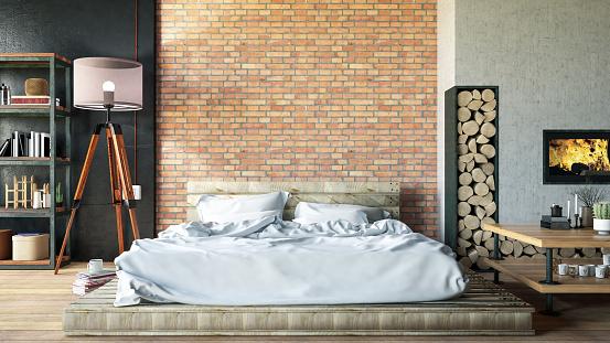 Rooftop「Loft Bedroom with FirePlace」:スマホ壁紙(2)