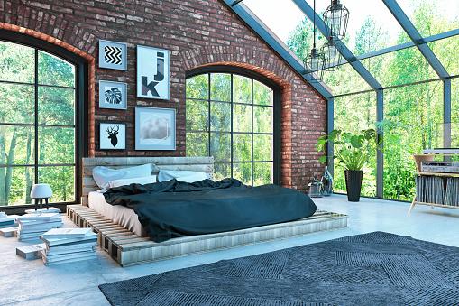 Bed - Furniture「Loft Bedroom view Forest View」:スマホ壁紙(12)