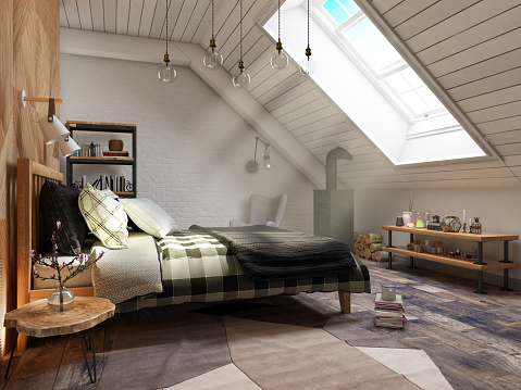 Bed - Furniture「Loft Bedroom with Sunbeam」:スマホ壁紙(2)