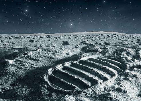 Moon「Footprint of astronaut on the moon」:スマホ壁紙(9)