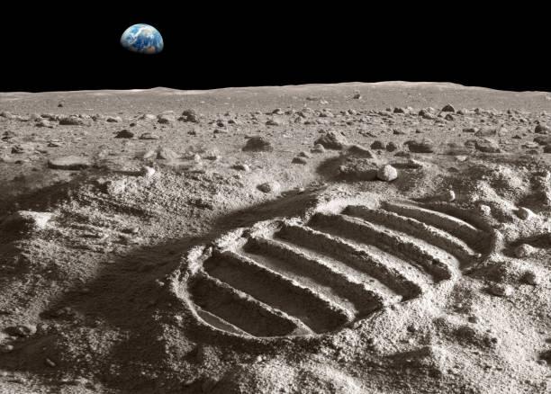 Footprint of astronaut on the moon:スマホ壁紙(壁紙.com)