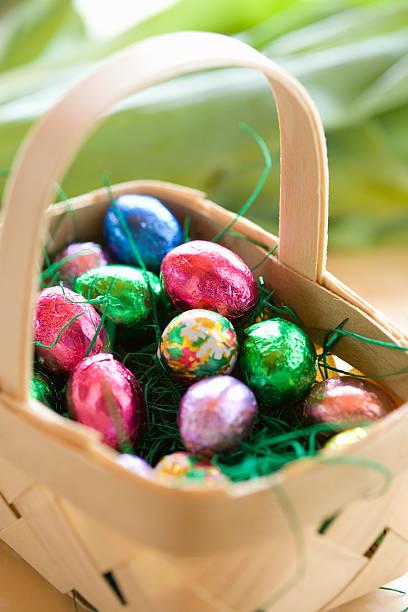 Chocolate eggs in Easter basket, elevated view:スマホ壁紙(壁紙.com)