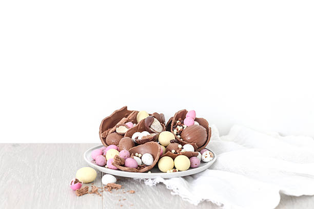 Chocolate Easter eggs on a plate:スマホ壁紙(壁紙.com)