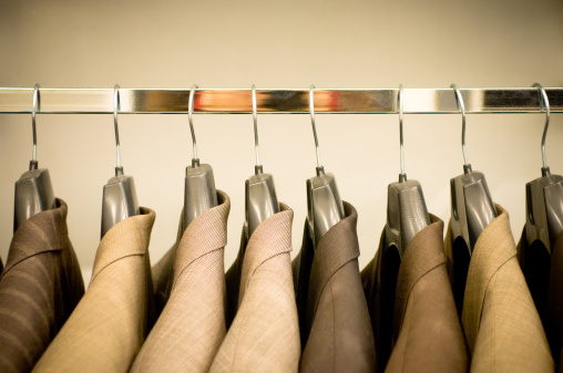 Sepia Toned「Row of hanging suits in wardrobe」:スマホ壁紙(12)