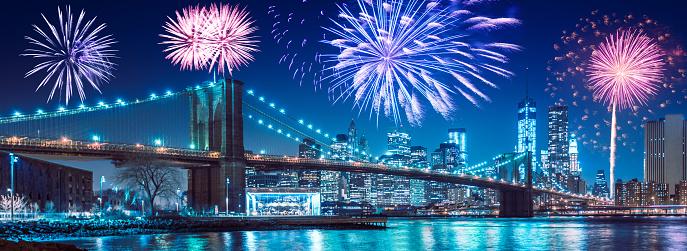 花火「花火、ブルックリン橋の後ろ」:スマホ壁紙(1)