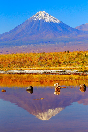 San Pedro De Atacama「Laguna Cejar – dramatic Cejar lake mirrored reflection, Licancabur and Miniques snowcapped volcanoes and Idyllic Atacama Desert, Volcanic landscape panorama – San Pedro de Atacama, Chile, Bolívia and Argentina border」:スマホ壁紙(14)
