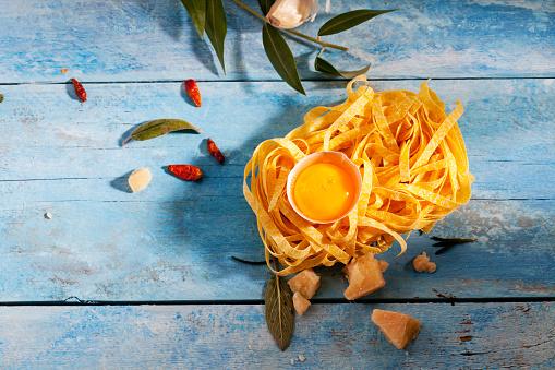 Garlic Clove「Raw Tagliatelle, egg yolk in eggshell, chili pods, sage leaves, parmesan and garlic clove」:スマホ壁紙(5)