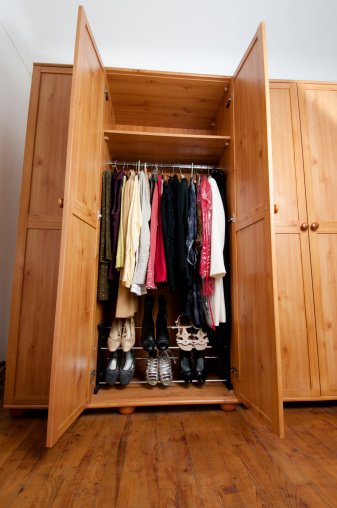 Skirt「tidy clothes and shoes in woman's wardrobe」:スマホ壁紙(16)