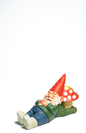 Fairy Tale「Garden gnome sleeping with copy space」:スマホ壁紙(17)