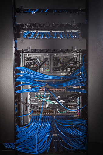 Data Center「Rear of computer server with blue cables」:スマホ壁紙(19)
