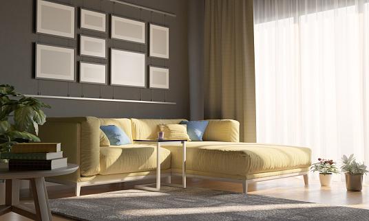 Curtain「Cozy Living Room With Sunlight」:スマホ壁紙(2)
